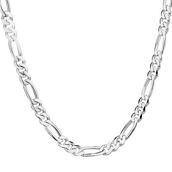 Silver Color Figaro Chain Necklace For Women Men 1Pc