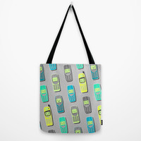 Vintage Cellphone Pattern Tote Bag by Chobopop