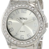 XOXO Women's XO5410  Silver-tone/White Epoxy Bracelet With Rhinestones Accent Watch