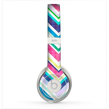 The Vibrant Pink & Blue Layered Chevron Pattern Skin for the Beats by Dre Solo 2 Headphones