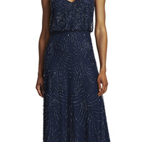 Beaded Chiffon Blouson Gown - Adrianna Papell