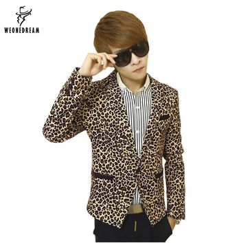 Mens Slim Fit Blazer Leopard Printed Suit Jacket Stage Costumes for Singers Male Outerwear Men's Coat Cclothing 2017