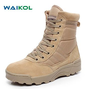 Waikol Winter Army Boots Mens Military Desert Boot Shoes Men Autumn Breathable Snow Ankle Boots Botas Tacticos Zapatos