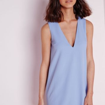CREPE PLUNGE SCALLOP HEM SHIFT DRESS POWDER BLUE