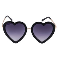 Black Metal Bridge Heart Sunglasses