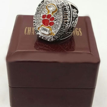 Factory Direct Sale 2015 Clemson Tigers ACC Championship Ring With Wooden Boxes BC2832