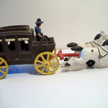 Cast Iron Wagon Train Frontier Stage Coach Antique Toy Home Office Decor Rustic Primitive Farmhouse