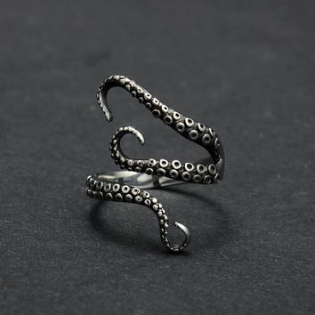 cool top quality Titanium steel Gothic Deep sea squid Octopus finger rings fashion jewelry opened Adjustable sizes-171206