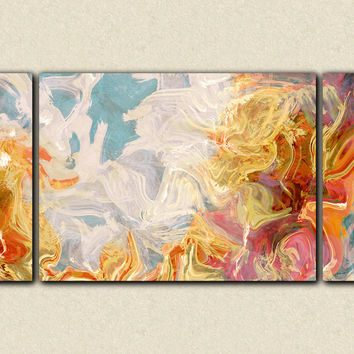 "Large wall art abstract, 30x60 to 40x78 triptych giclee stretched canvas print in rust, orange and blue, ""Ridge"""