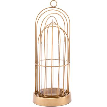 Gold Birdcage Candle Holder, Small
