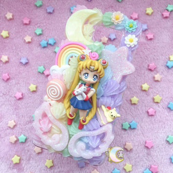 Samsung Galaxy Note 5 Kawaii Sailor Moon Rainbow Decoden Phone Case