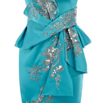 POSH GIRL Blue & Silver Satin Peplum Dress