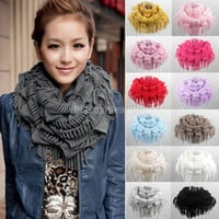 Women Winter Warm Knit Fringe Tassel Neck Wrap Circle Snood Scarf Shawl 13 Colors