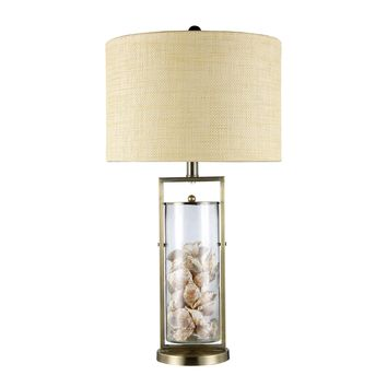 D1978 Millisle Table Lamp In Antique Brass And Clear Glass With Shells - Free Shipping!