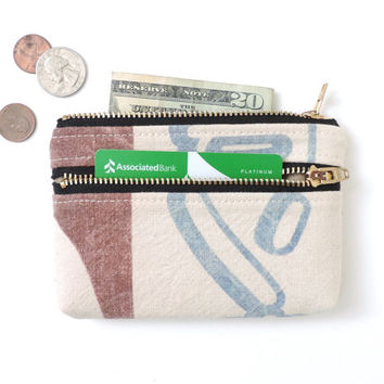 Recycled Wallet Coin Purse Double Zipper Pouch Japanese Flour Sack