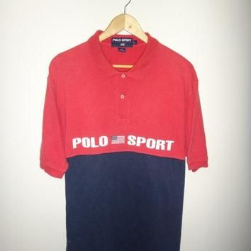 New Year Sale Vintage Polo Sport US Flag Polo Ralph Lauren 1990s Spell Out Streetwear