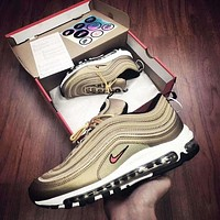 NIKE AIR MAX 97 Trending Fashion Casual Running Sports Shoes Golden G