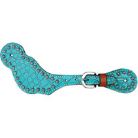 Bar H Equine Turquoise Gator Series Boot Spur Straps w/Spots