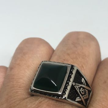 Vintage 1980's Gothic Silver Stainless Steel Genuine Black Onyx Free Mason Men's Ring