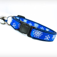 "Holiday Cat Collar - ""My Favorite Things"" - Snowflakes on Cobalt Blue"