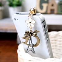 Flower Eiffel Dust Plug Cellphone Charm iPhone Accessories
