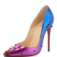 DegraSpike Patent Red Sole Pump, Rose/Blue - Christian Louboutin