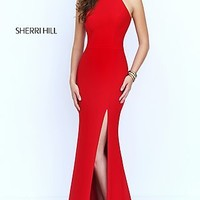 Dresses, Formal, Prom Dresses, Evening Wear: Open Back Sleeveless Long Sherri Hill Prom Dress