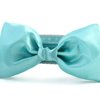 Turquoise Bow Tie Dog Collar - Dog Bow Tie Collar - Wedding Attire for Dogs - dog wedding - teal satin dog bow tie - formal dog bow tie