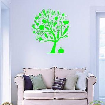 Wall Sticker Vegeterian Tree Fruits Vegetables Cool Decor for Kitchen Unique Gift z1351