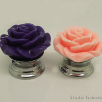 1PC Resin Rose Flower Drawer Pulls Knobs Finial-30mm, Gemstone Furniture Accessary
