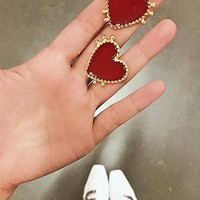 Hearts Keep Beating Red Gold Heart Shaped Stud Earrings