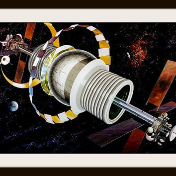 NASA Fantasy Art, Space Fantasy Art, Space Travel Metallic Print, Vintage Space Art