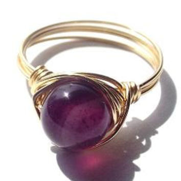 Purple Agate ring/Agate ring/gold ring/wire wrap ring/Mother's Day gift/purple and gold/dark purple ring/simple ring/boho ring/spring ring