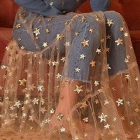 Sheer Overlay Dress With Stars