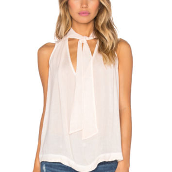 Sleeveless Tie Front Top in Peach