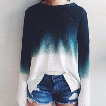 Ladies Knitted Sweaters Tops Women Vintage Long Sleeve Knitwear Jumper O Neck Blue White Fashion Pullover Sweater