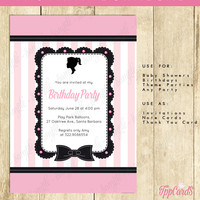 Barbie Birthday Party Invitation - INSTANT DOWNLOAD with EDITABLE text - you personalize at home with Adobe Reader