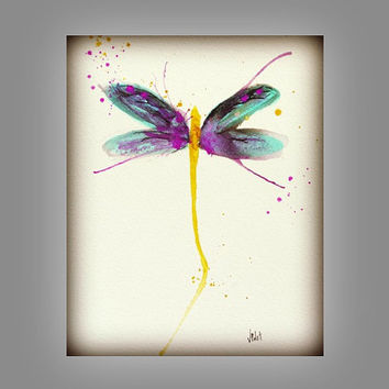 Dragonfly Art Painting, Purple & Yellow Wall Decor, Garden, insect, Wings 8x10 Print