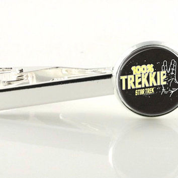 Fathers Day Star Trek accessories, mens anniversary, Trekkie tie clip, stocking stuffer, tie slide, movie theme,star wars, groomsmen gift