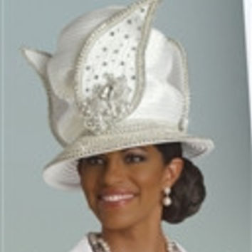Donna Vinci 11347H Embellished Petal Decal Staircase ChurchHat