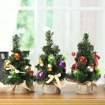 20cm Plastic Mini Christmas Pine Tree Festival Party Ornaments Figurine Christmas Party Table Display Decoration Gifts Miniature