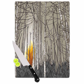"Sam Posnick ""Smokey Forest Fire"" Brown Orange Cutting Board"