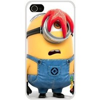 4GDCM-07W iPhone 4S 4G iPhone4 At&t Sprint Verizon Funny Cartoon Despicable Me Minions Hard Case Cover with eBayke Logo