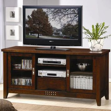 Walnut finish wood plasma tv console stand with media storage on the sides