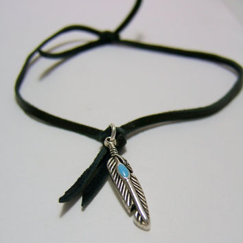 BLACK Leather Anklet - Feather charm - Genuine Deerskin Lace Anklet ~ Antique Silver Feather Charm with Turquoise accent ~ Simple & Elegant.