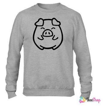 cute pig_Crewneck sweatshirtt