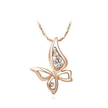 Shiny Stylish New Arrival Gift Butterfly Jewelry Crystal Necklace [9281903556]
