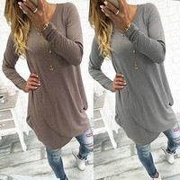 Fashion Women Lady Clothing Dresses Long Sleeve Brief Solid Casual Dress Loose Cotton Outfits Autumn Clothes