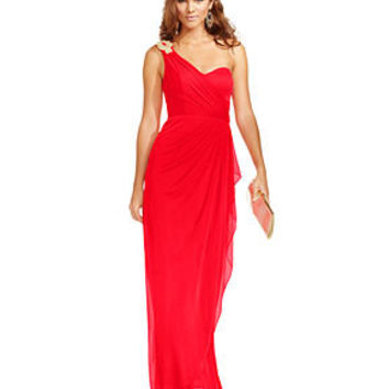 Xscape Dress, Sleeveless One-Shoulder Rhinestone Draped Sweetheart Neck Evening Gown - Juniors Dresses - Macy's