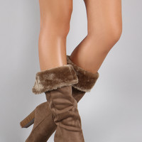 Wild Diva Lounge Suede Faux Fur Cuff Heeled Boots